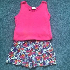 Pink Tank Top + Flowered Shorts Size 14